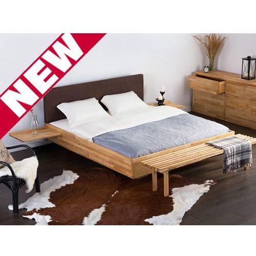 OKAZJA - Podwójne łóżko drewniane ze stelażem 180x200 cm, brązowe ARRAS, kolor brązowy