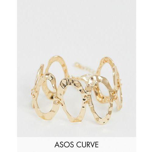 Asos curve Asos design curve bracelet with hammered open shapes in gold - gold