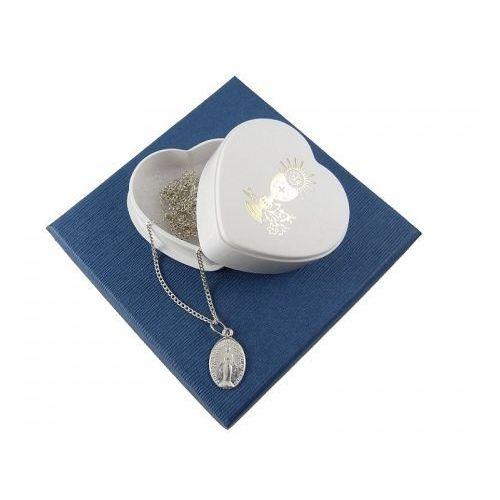Zestaw na komunię: medalik średni + łańcuszek 0,5 - 45cm - srebro 925, ZK-020