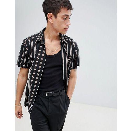 short sleeve shirt with vertical stripe - black, Bellfield, S-XL