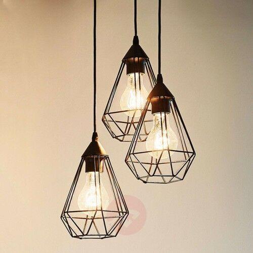3-Punktowa, vintage – lampa wisząca Tarbes, czarna, 22667659433