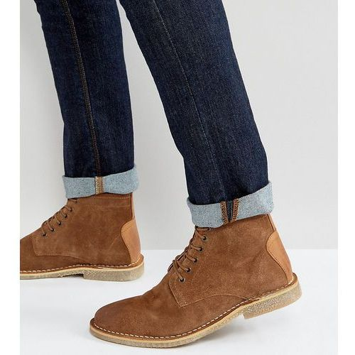 Asos wide fit desert boots in tan suede with leather detail - tan