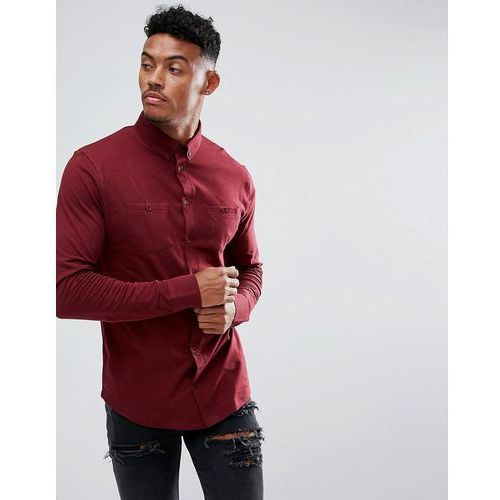boohooMAN muscle fit jersey shirt with double pockets in burgundy - Red