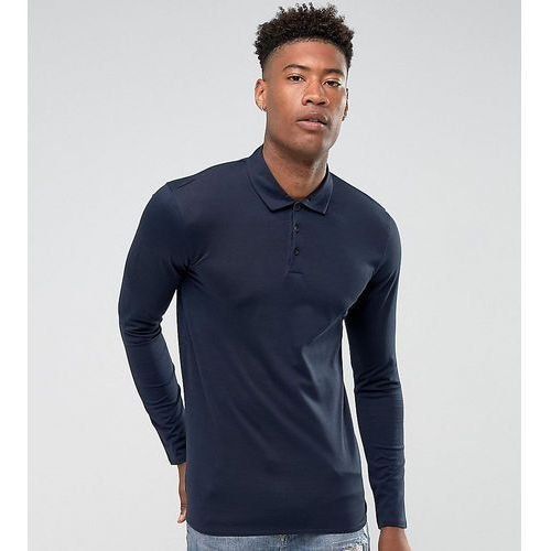 Selected homme tall slim long sleeve polo in mercerised cotton - navy