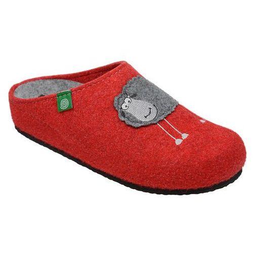 Kapcie 320485-4 czerwone pantofle domowe ciapy zdrowotne - czerwony ||popielaty marki Dr brinkmann