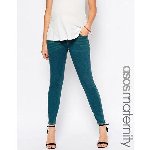 ASOS Maternity Ridley Skinny Jeans In Bergamot Wash With Under The Bump Waistband - Blue, kolor niebieski