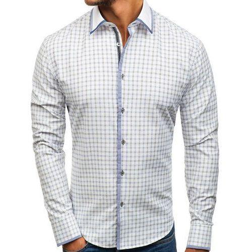 Koszula męska w kratę z długim rękawem biało-czarna Bolf 8812, kolor biały