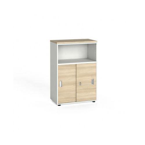 B2b partner Szafa biurowa kombinowana, przesuwne drzwi, 1087x800x420 mm, biały / dąb naturalny, kategoria: szafy i witryny