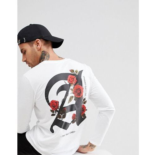 long sleeve t-shirt with roses print in white - white marki Boohooman