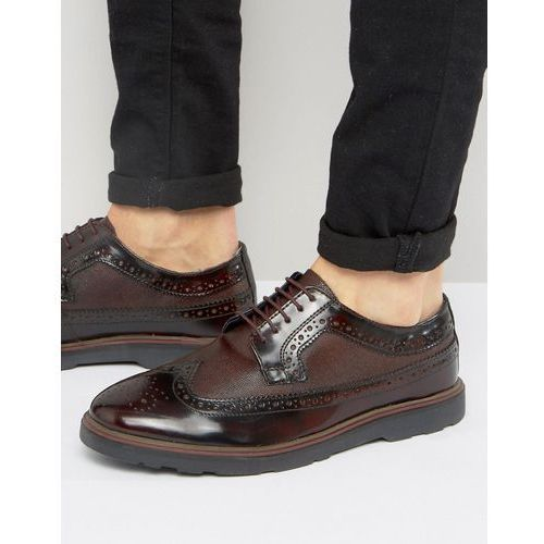 Silver street soho brogues in bordo leather - red