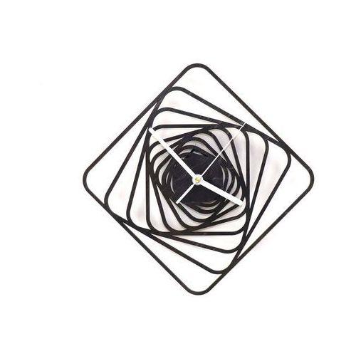 Drewniany zegar na ścianę kwadratowe spirale z białymi wskazówkami marki Congee.pl