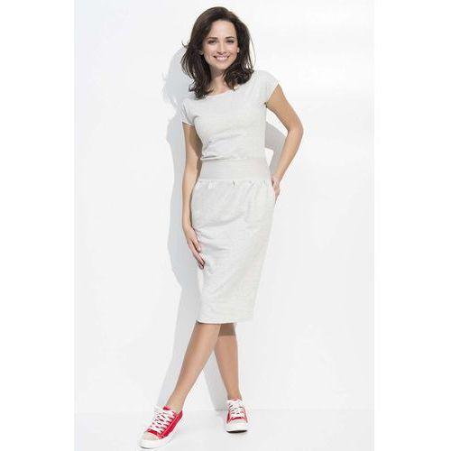 Melanżowa sukienka bombka midi z rękawkiem, Makadamia, 36-46