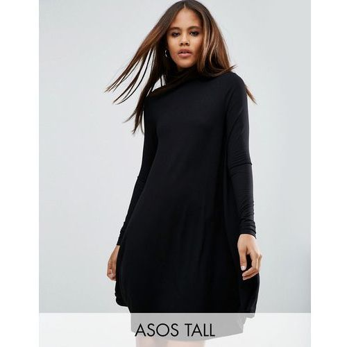 ASOS TALL Swing Dress with Polo Neck & Long Sleeves - Black, kolor czarny