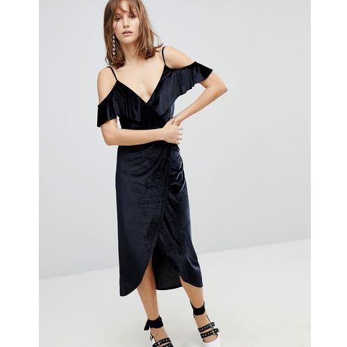wrap velvet midi dress - black marki Stradivarius