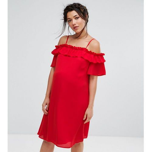 Queen bee maternity ruffle cold shoulder dress - red