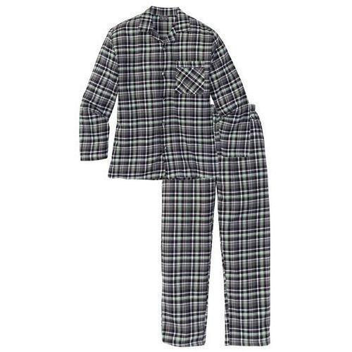Piżama flanelowa bonprix szary w kratę