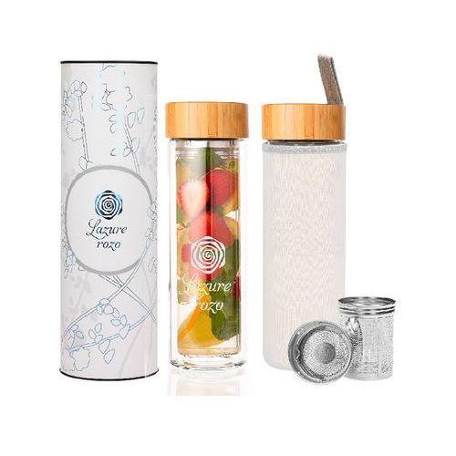 Ekologiczna, szklana butelka termiczna z infuzerem na owoce 450ml