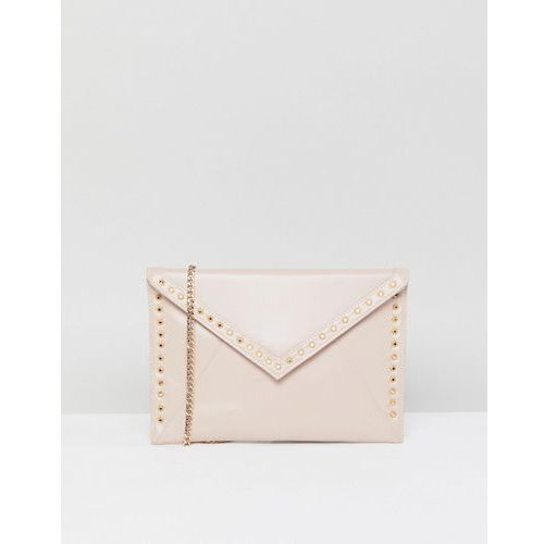 Carvela foldover clutch bag with studding - beige