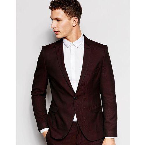 skinny luxe polka dot suit jacket with peak lapel - purple marki Selected homme