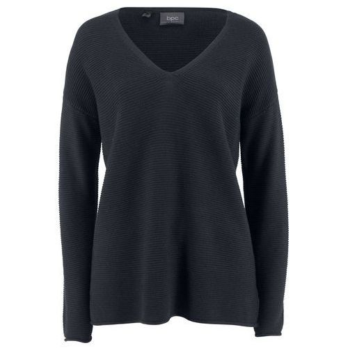 Bonprix Sweter norweski z guzikami ciemnoniebiesko-naturalny melanż- turkusowy