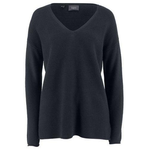 Sweter norweski z guzikami ciemnoniebiesko-naturalny melanż- turkusowy marki Bonprix