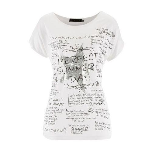 T-shirt z krótkim rękawem biały z nadrukiem, Bonprix, 36-58