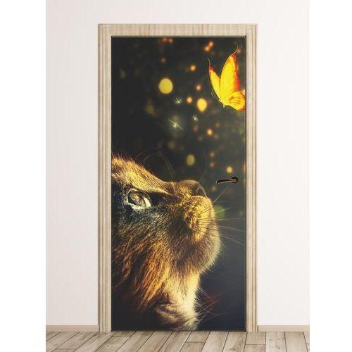 Fototapeta na drzwi dla dzieci kot i motyl FP 6020