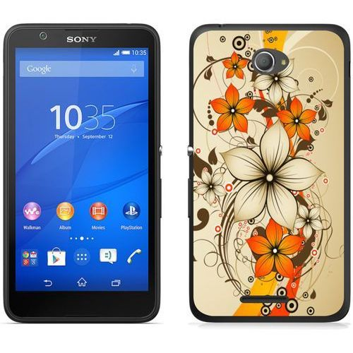 Sony Xperia E4 - etui na telefon - Kolekcja boho - pomarańczowe kwiaty - J108, kolor pomarańczowy