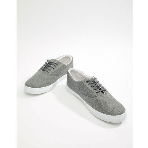 lace up plimsolls in mid grey - grey, New look