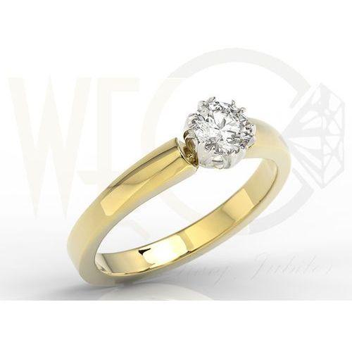 Węc - twój jubiler Pierścionek zaręczynowy z żółtego i białego złota z brylantem bp-2130zb