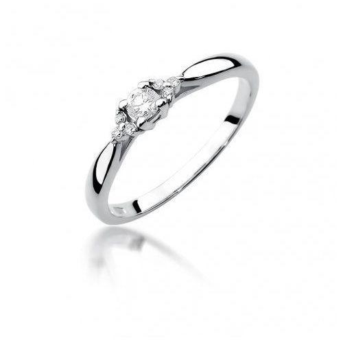 Saxo Biżuteria 14k pierścionek z brylantami 0,13ct w-428 białego złota