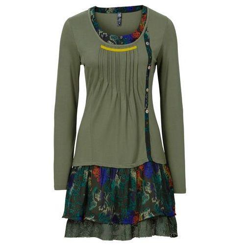 Sukienka z nadrukiem bonprix oliwkowy z nadrukiem, kolor wielokolorowy
