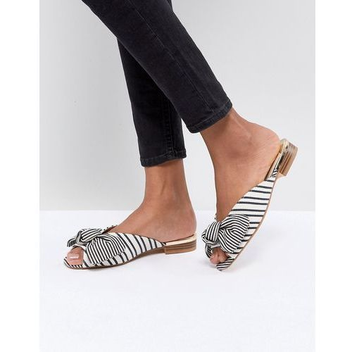 River island peep toe bow front striped sliders - white