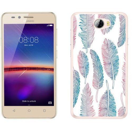 Huawei Y5 II - etui na telefon - Kolekcja boho - niebiesko - różowe piórka - J56