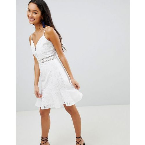 broderie cami dress with frill hem - white marki Parisian