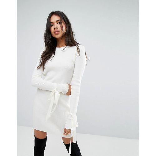 basic tie cuff bardot knitted mini dress in cream - cream marki Boohoo