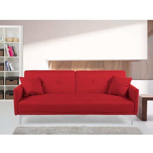 Sofa z funkcją spania czerwona - kanapa rozkładana - wersalka - lucan marki Beliani