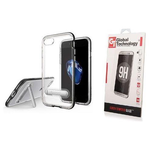 ZESTAW | ETUI SPIGEN CRYSTAL HYBRID BLACK + SZKŁO PERFECT GLASS - iPhone 7 / 8