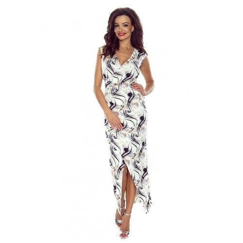 Długa Elegancka Sukienka Kopertowa w Czarne Fale, B108-02bl