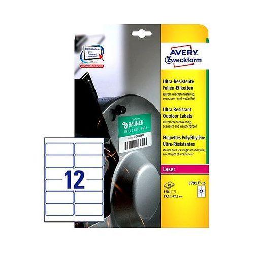 Etykiety avery ultra resistant 99,1x42,3mm polietylenowe białe l7913-10, 10ark. a4 marki Avery zweckform