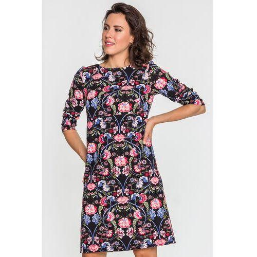 Czarna sukienka w kwiaty - SU, 1 rozmiar