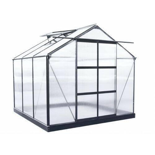 Szklarnia ogrodowa z poliwęglanu o pow. 5,9 m² ANISSA z podstawą - Metaliczny szary