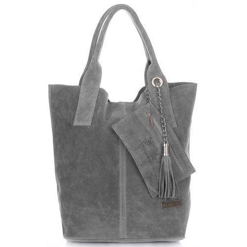 Torebki skórzane typu shopperbag xl włoskiej firmy wykonane z wysokiej jakości zamszu naturalnego szara (kolory) marki Vittoria gotti
