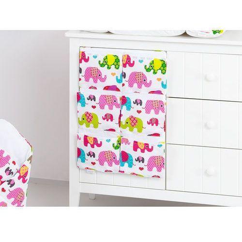 przybornik organizer na łóżeczko słoniaki różowe marki Mamo-tato