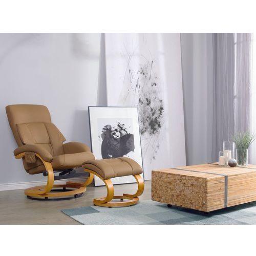 Krzesło biurowe beżowe z podnóżkiem skóra ekologiczna funkcja masażu force marki Beliani
