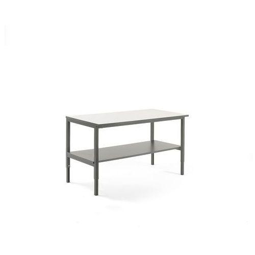 Stół roboczy cargo, z półką dolną, 1600x750 mm, biały, szary marki Aj produkty