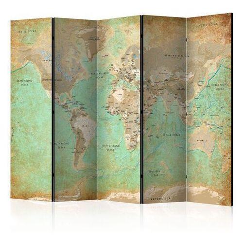 Artgeist Parawan 5-częściowy - turkusowa mapa świata [room dividers]