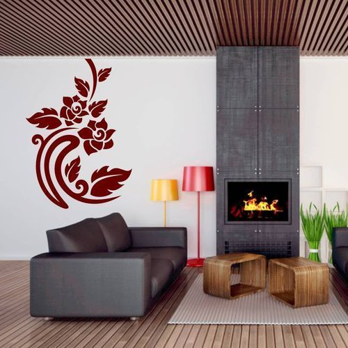 naklejka dekoracyjna liście kwiaty 2126