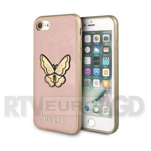 etui hardcase guhci8espbrg iphone 7/8 różowo-złoty butterfly sa ffiano marki Guess