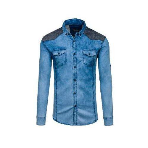 Koszula męska jeansowa we wzory z długim rękawem niebieska denley 0517-1 marki Madmext